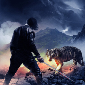 Man steel and a tiger
